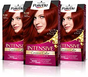 Schwarzkopf Palette Intensive Creme Color – Tono 6.88 cabello Rojo Rubí (Pack de 3) - Coloración Permanente de Cuidado con Aceite de Marula, Perfecta ...