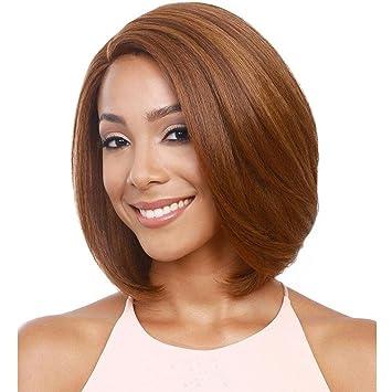 SHKY Elegante nuevo corto recta de color marrón claro peluca Bob peluca resistente al calor de