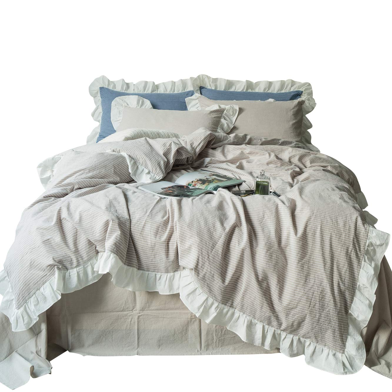 SUSYBAO 3 Pieces Vintage Ruffle Duvet Cover Set 100% Washed Cotton Queen Size Beige Striped Princess Girls Bedding with Zipper Ties 1 Rural Duvet Cover 2 Pillow Shams Luxury Quality Soft Breathable