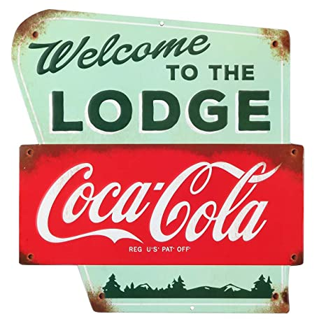 Swell Open Road Brands Vintage Retro Metal Tin Signs Embossed Coca Cola Welcome To The Lodge Sign For Cabin Lodge Art Diner Art Man Caves And Home Interior Design Ideas Truasarkarijobsexamcom