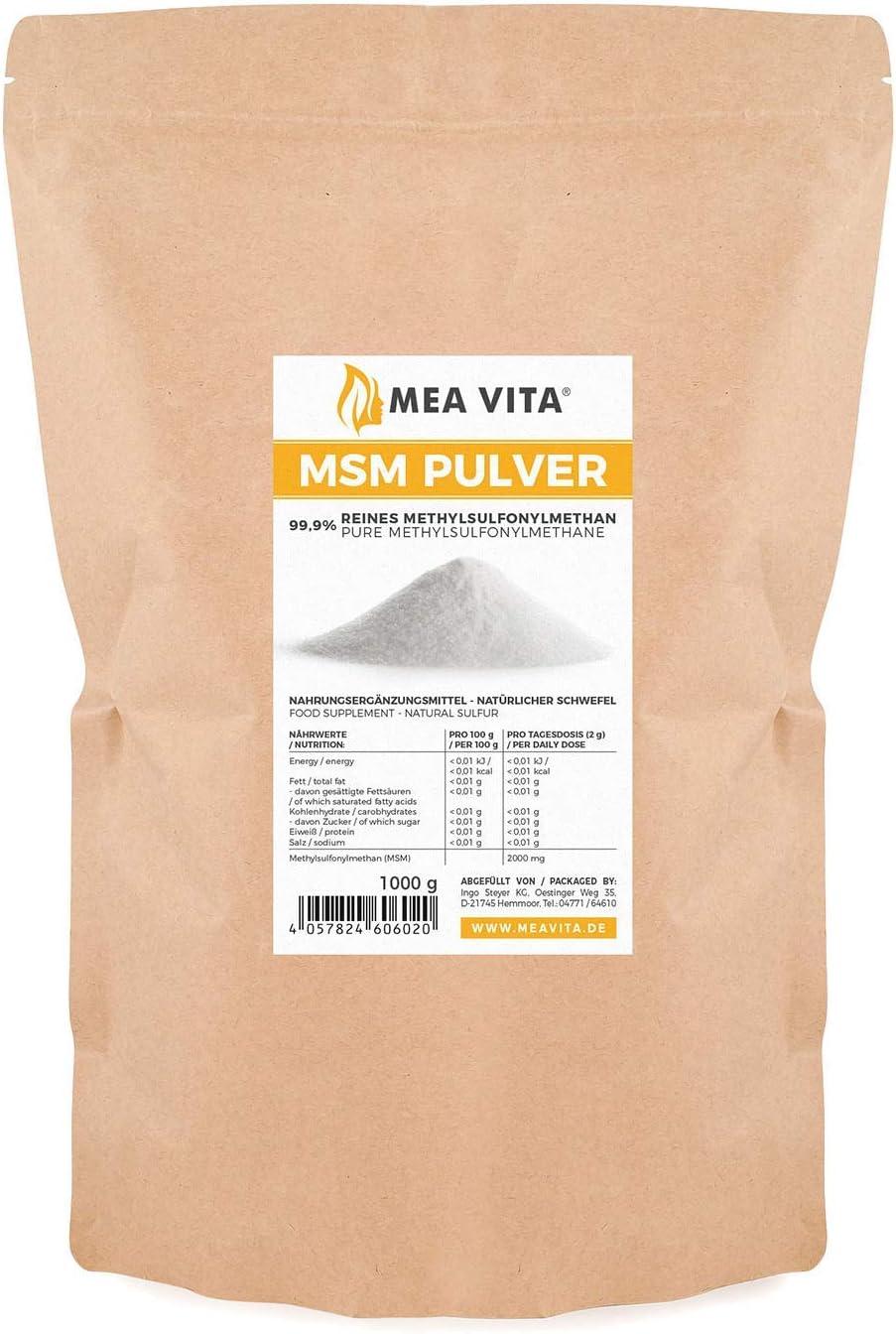 Meavita Meavita Msm En Polvo 99.9 Por Ciento Puro, Metilsulfonilmetano, 1000 G 1000 g