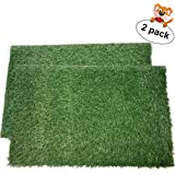 "LOOBANI Dog Grass Pee Pads, Artificial Turf Pet Grass Mat Replacement for Puppy Potty Trainer Indoor/Outdoor Use - Set of 2 (18""x23"")"