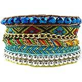 Bracelet Ethnique Multibrins Perles Argentées Tresse Tendance Fashion