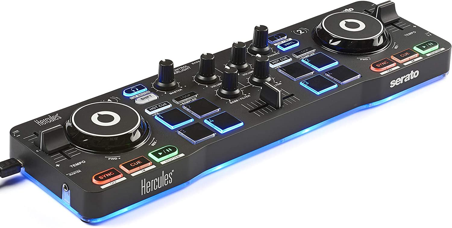 Amazon Com Hercules Dj Djcontrol Starlight Pocket Usb Dj Controller With Serato Dj Lite Touch Sensitive Jog Wheels Built In Sound Card And Built In Light Show Musical Instruments