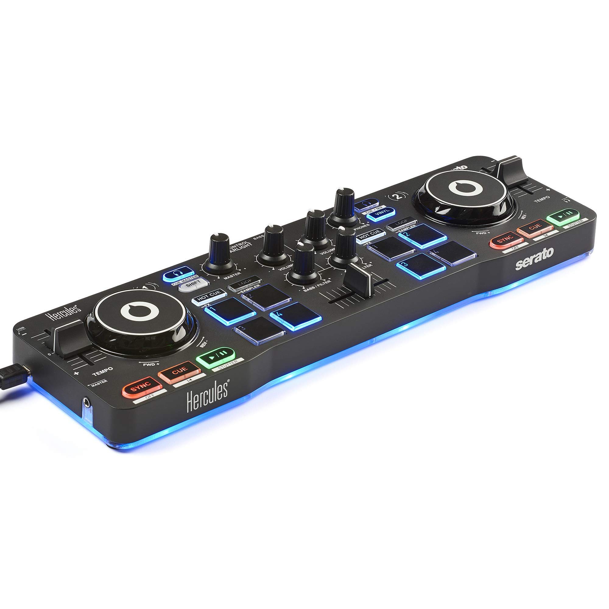Hercules DJ DJControl Starlight | Pocket USB DJ Controller with Serato DJ Lite, Touch-Sensitive Jog Wheels, Built-in Sound Card and Built-in Light Show