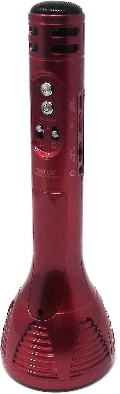 Micrófono Inalámbrico Portátil Altavoz Bluetooth USB Tarjeta TFK Grabadora Hi-Fi WS-1698 (Rojo)