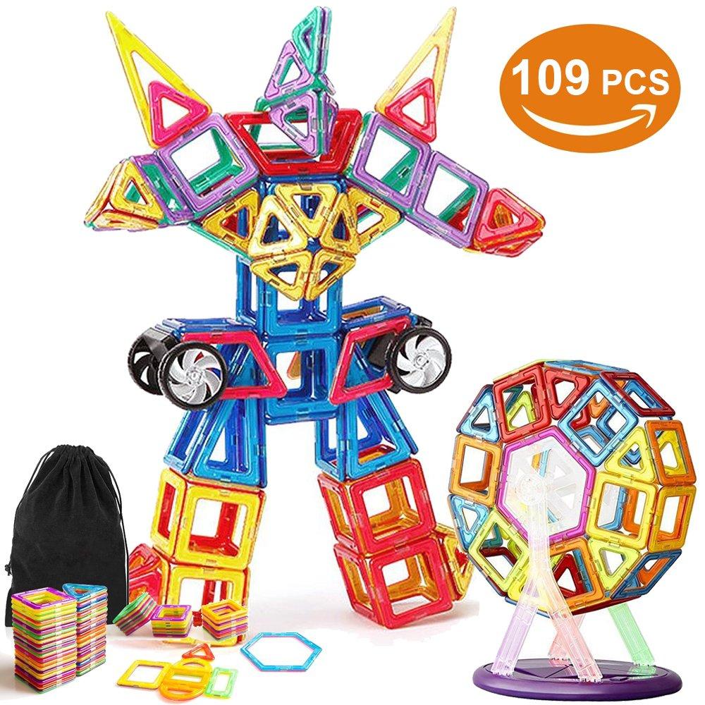 VIDEN Blocchi Magnetici Arcobaleno 109 pezzi Giocattoli Educativi Kit Includi carte di alfabeto Carte di numero Ferris Wheel Car Wheels Carrying Bag Building Piastrelle