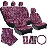 OxGord 21pc Zebra Car Seat Cover, Carpet Floor Mat, Steering Wheel Cover and Shoulder Pad Set - Universal Fit, Truck, SUV, or Van - Hot Pink