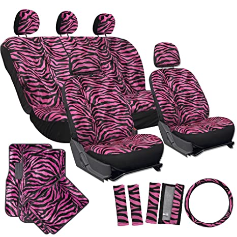 OxGord 21pc Zebra Car Seat Cover Carpet Floor Mat Steering Wheel And Shoulder