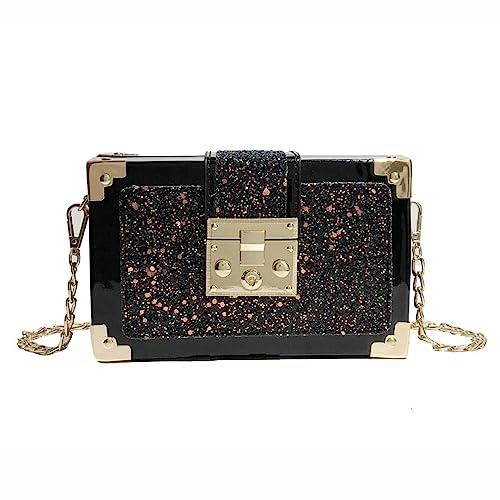 Women Girls Glittering Box Clutch Bags Handbag Bling Laser Shoulder Cross  Purses Wallets (black) 232a591c3922a