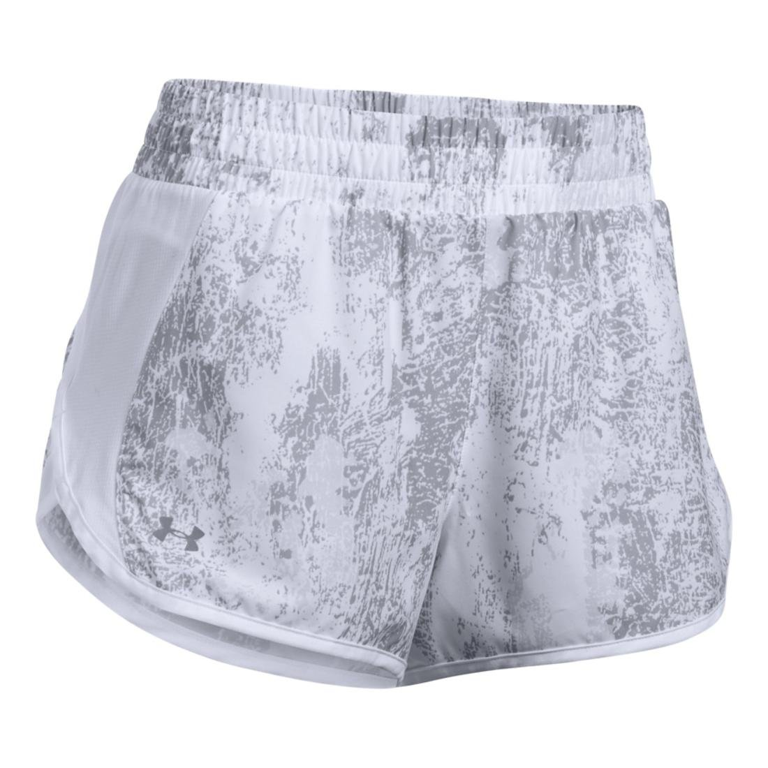 f74614e10 Large Under Armour Apparel 1303009 100 /Reflective Under Armour Womens  Launch Printed Tulip Shorts,White