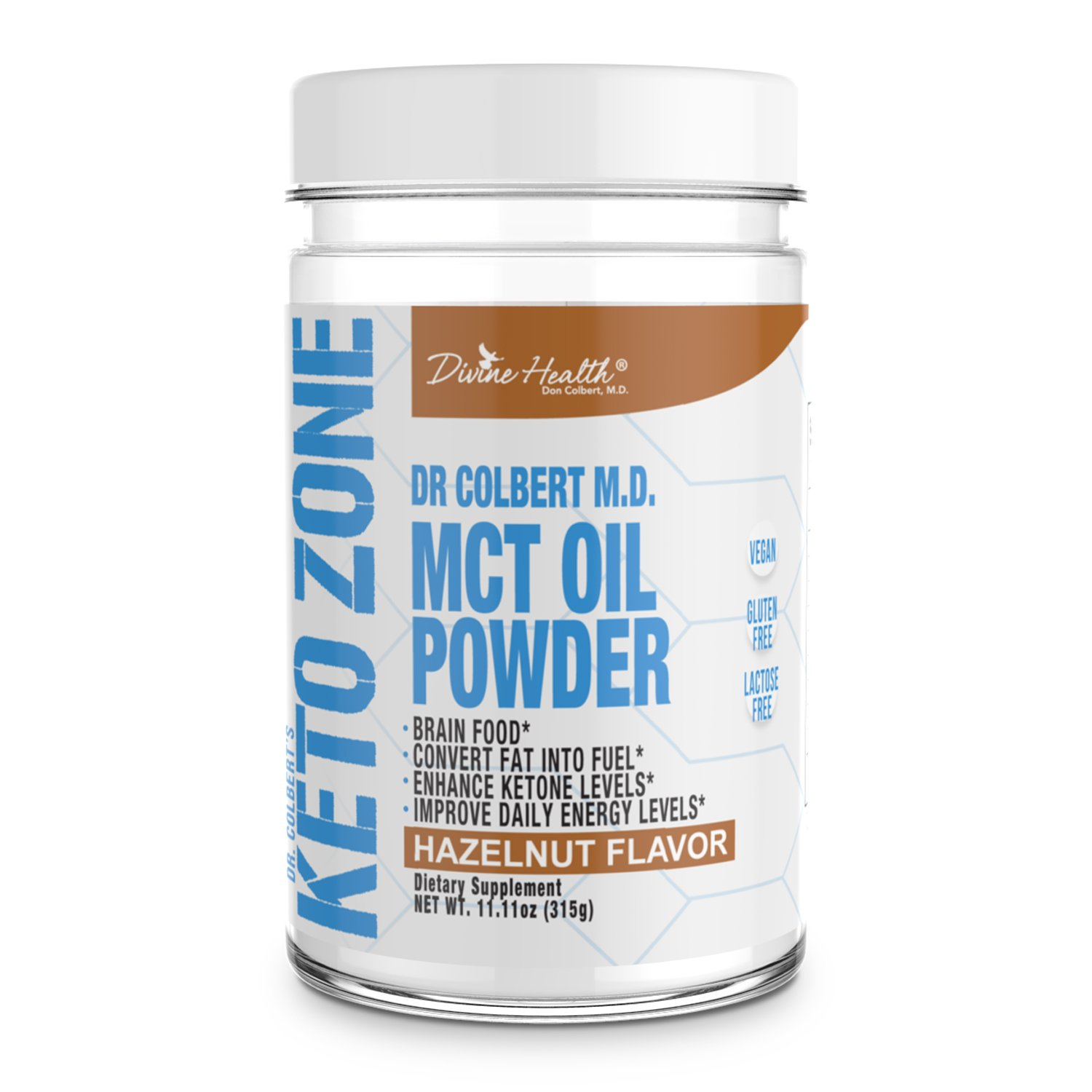 Dr.Colbert's Keto Zone MCT Oil Powder (Hazelnut Flavor) (300 Grams) (30 Day Supply) - Recommended in Dr. Colbert's Keto Zone - Alternative Coffee Creamer - Ketogenic - Dairy Free - Soy Free