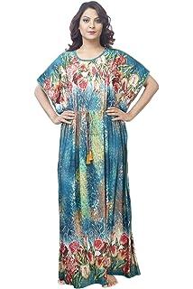d90fd01395f IMJI Nightwear Women s Knitted Stretch Kaftan Floral Printed Long Nighty  (Green