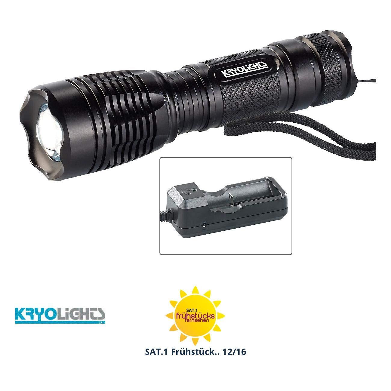 KryoLights Stablampe: LED-Taschenlampe TRC-144.a inkl. Akku und Ladegerät 1000 lm, IP44 (Scheinwerfer Taschenlampe)