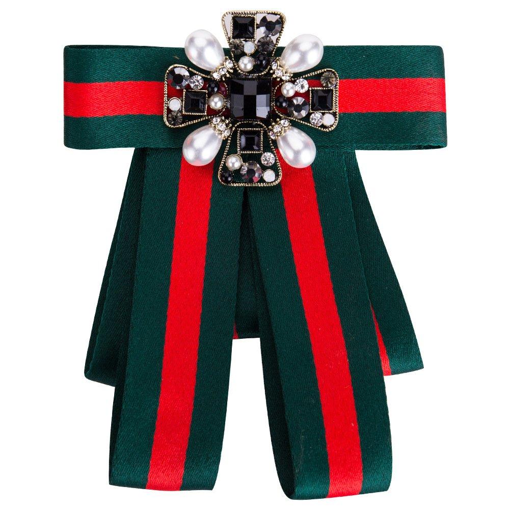 Women Premium Crystal Pearl Bow Brooch Pre-Tied Neck Tie Brooches Pin Bow Tie Wedding Party Bow Tie
