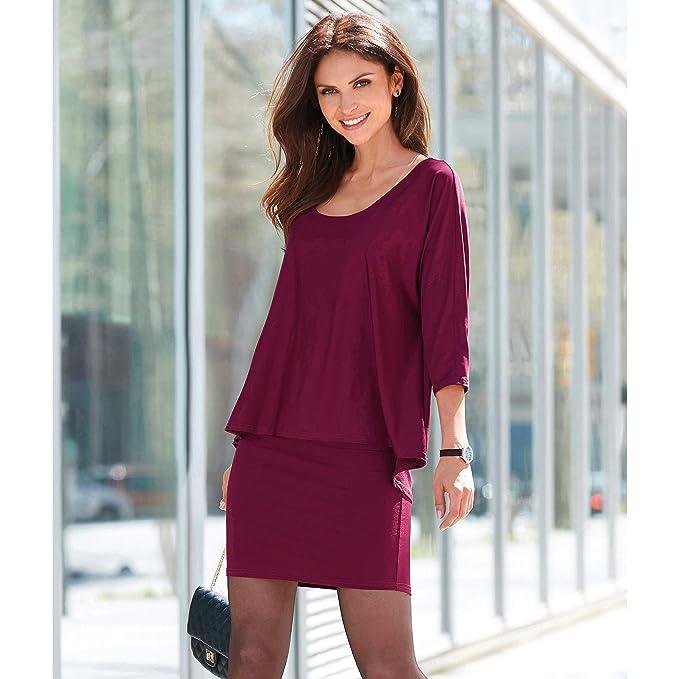 6ae70252396 VENCA Vestido Escote Redondeado y Doble Capa by Vencastyle