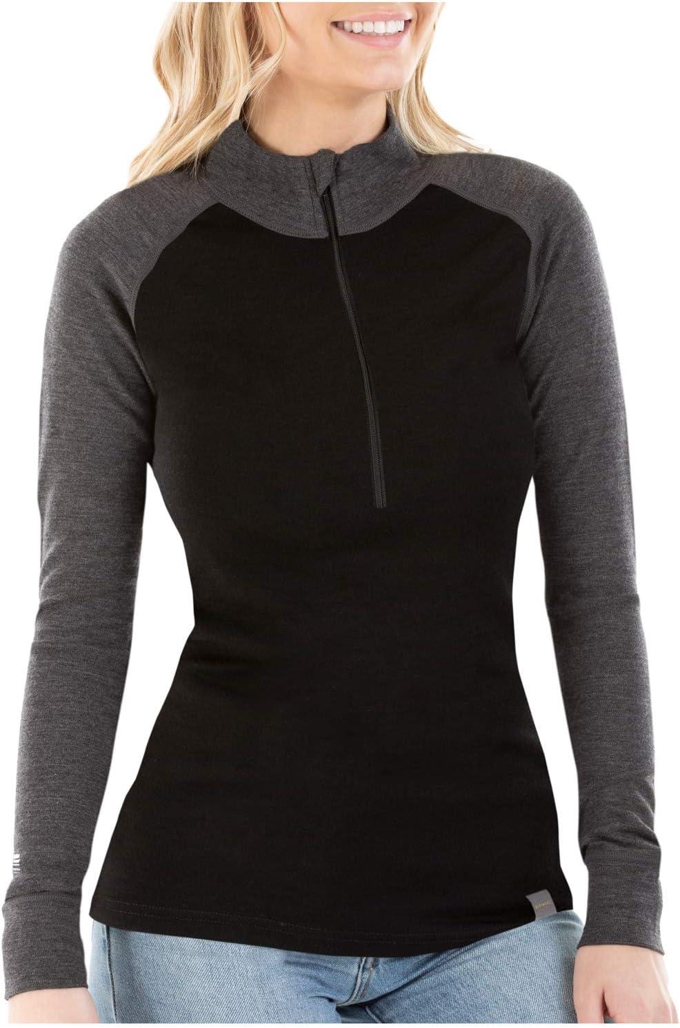 MERIWOOL Womens Base Layer 100% Merino Wool Midweight 250g Half Zip Sweater for Women: Clothing