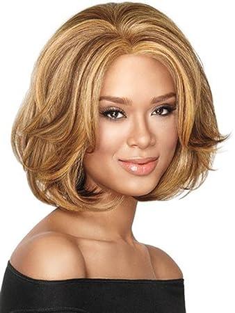 Amazon Com Bob Wavy Wig Short Blonde Hair Wigs No Bangs Shoulder