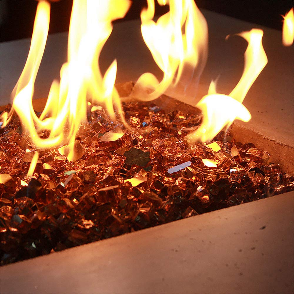 One Stop Outdoor (40 Pounds) 1/2 Inch Premium Copper Amber Reflective Bulk Fire Glass, Tempered for Fire Pit & Fireplace (Amber)
