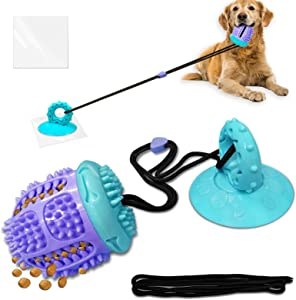 Dog Chew Suction Cup Toys Mirthdog Dog Tug of War Toys, Organic Rubber Ball Toy for Food Dispensing and Teeth Cleaning,Dog Puzzle Toys with Strong Suction Cup,Suitable for Aggressive Chewers