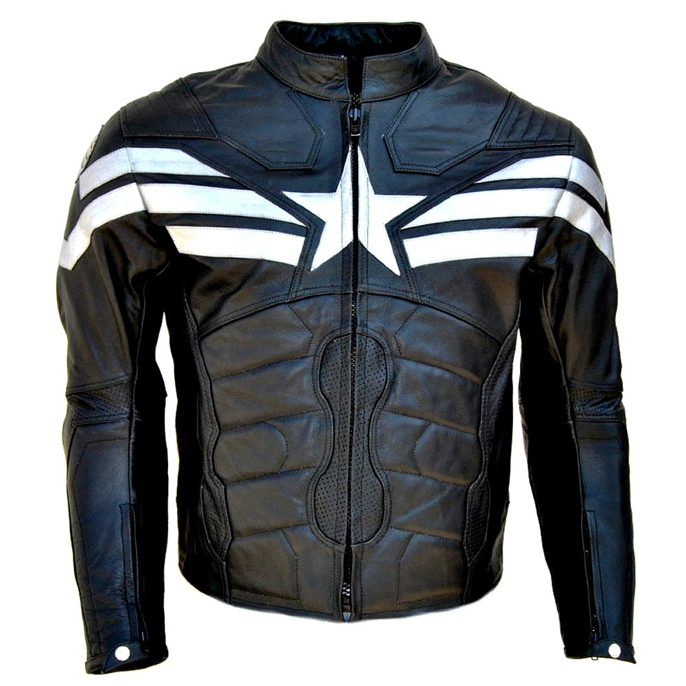 Men's Captain America: Winter Soldier Real Black Leather Jacket - DeluxeAdultCostumes.com