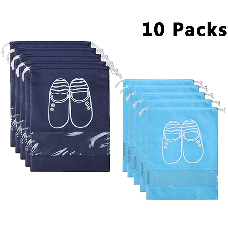 YAMIU 10 Pcs Shoe Bags Dust-proof Drawstring with Window Travel Shoe Storage Bags by YAMIU