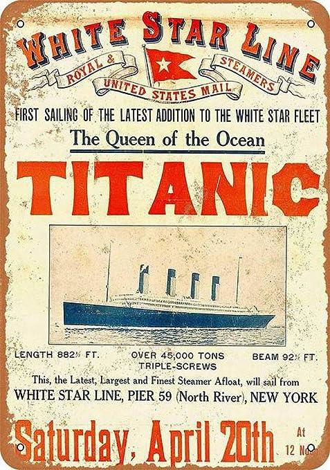 WallAdorn Titanic First Sailing Affiche de Fer Peinture Signe de Fer Blanc d/écoration Murale pour Cafe Bar Pub