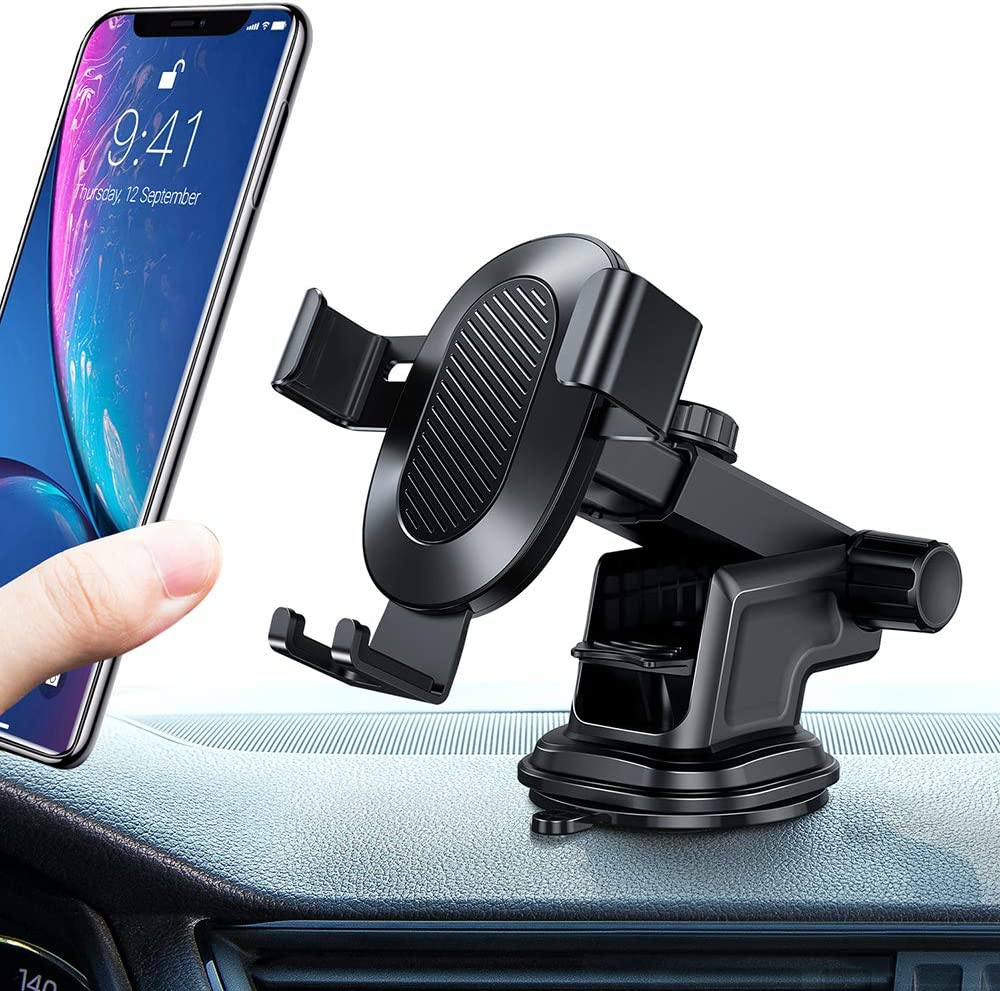 TORRAS Car Phone Holder, Universal Auto-clamping Car Mount, Reusable Suction Cup/Extendable Arm Dash & Windshield Phone Cradle for iphone 11 Pro Xs Max XR X 8 7 6s Plus,Galaxy S10 5G S10+ S9,Note 10