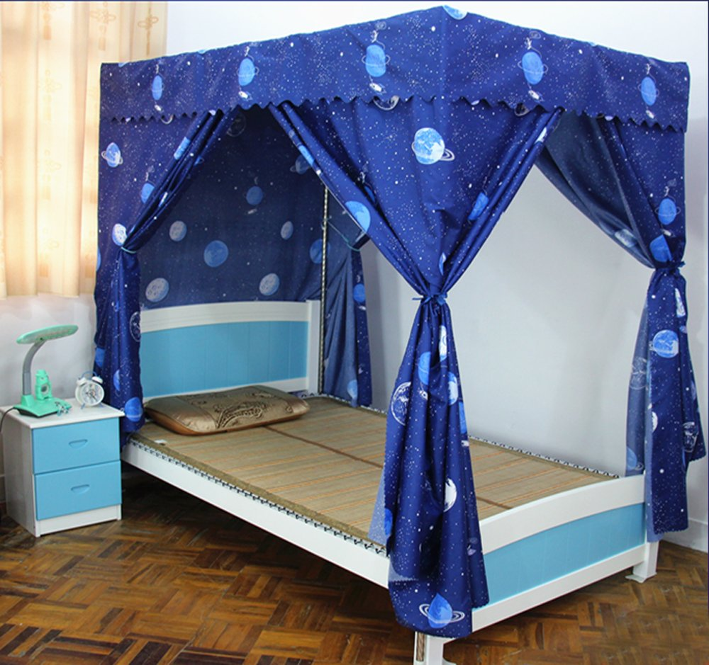 Mengersi Galaxy Star Four Corner Post Bed Curtain Canopy Mosquito Net for Boys Kids (Twin, Black)