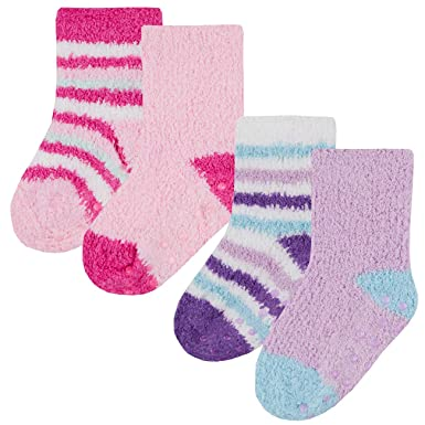 Metzuyan Kids Girls Socks Non Skid Anti Slip Grips Warm Cozy