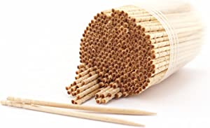 BambooMN Premium Wooden Round Toothpicks with Storage Holder for Food or Cleaning Your Teeth, 3 Packs of 300 Pieces, Party Supplies