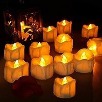 Velas LED, laxikoo 12Pcs Velas de Té LED, Vela Luz parpadeo con Pilas Sin Llama Perfectas para Bodas, Cumpleaños…