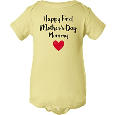 6696fe7e1 Amazon.com  Happy First Mother s Day Mommy Boy Girl Infant Onesie ...