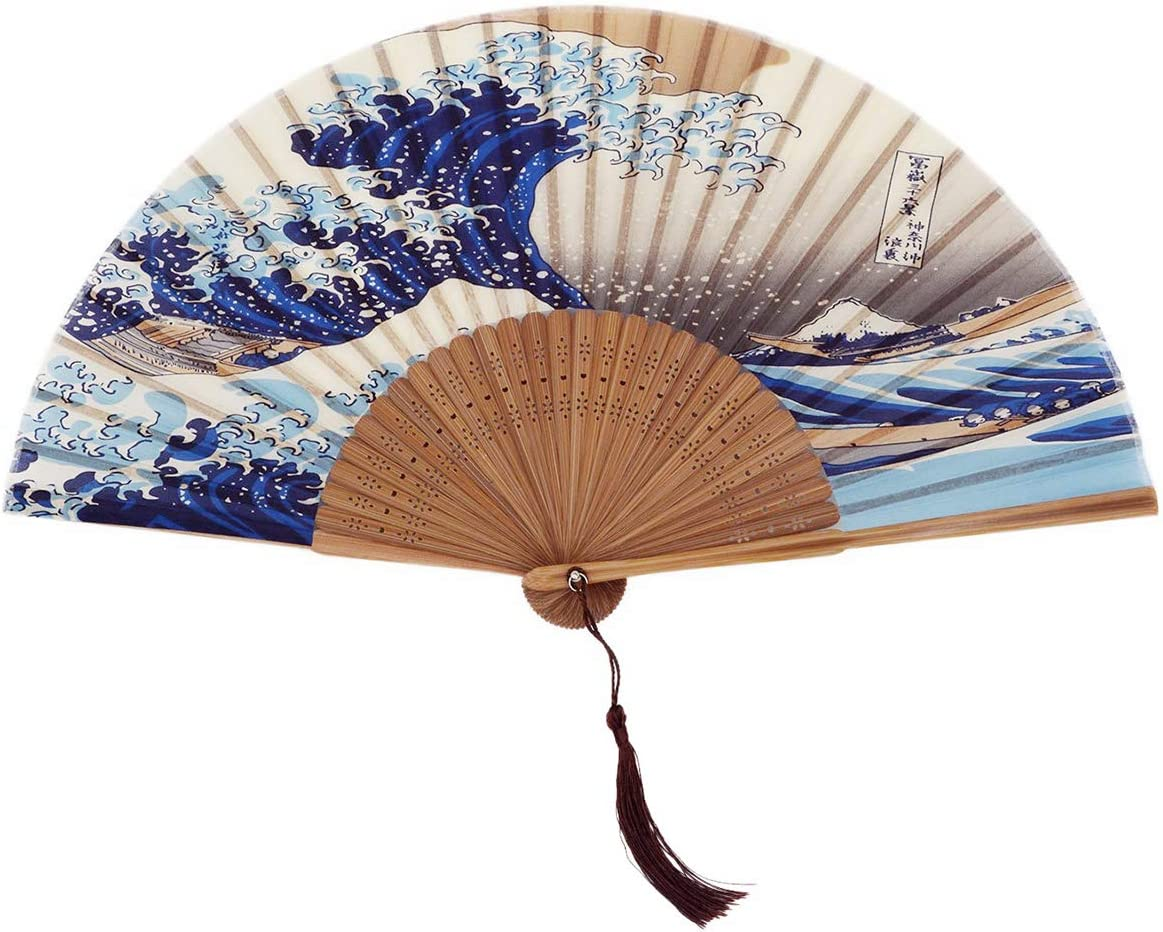 10.5 inches silk Scenery fan with Chinese Writing US seller fast shipping