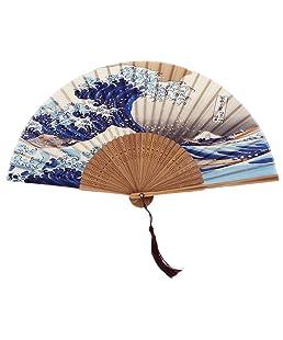 DawningView Japanese Handmade Landscape Bamboo Silk Folding Fan, Vintage Retro Style for Women Ladys Girls (Kanagawa Sea Waves) Handheld, OneSize
