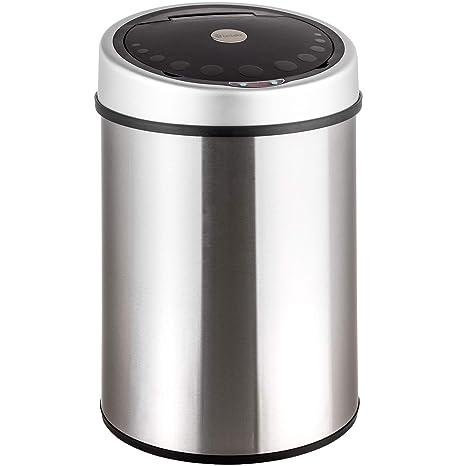 TecTake 400620 - Papelera cubo basura sanitario con sensor de apertura, 40 litros, acero