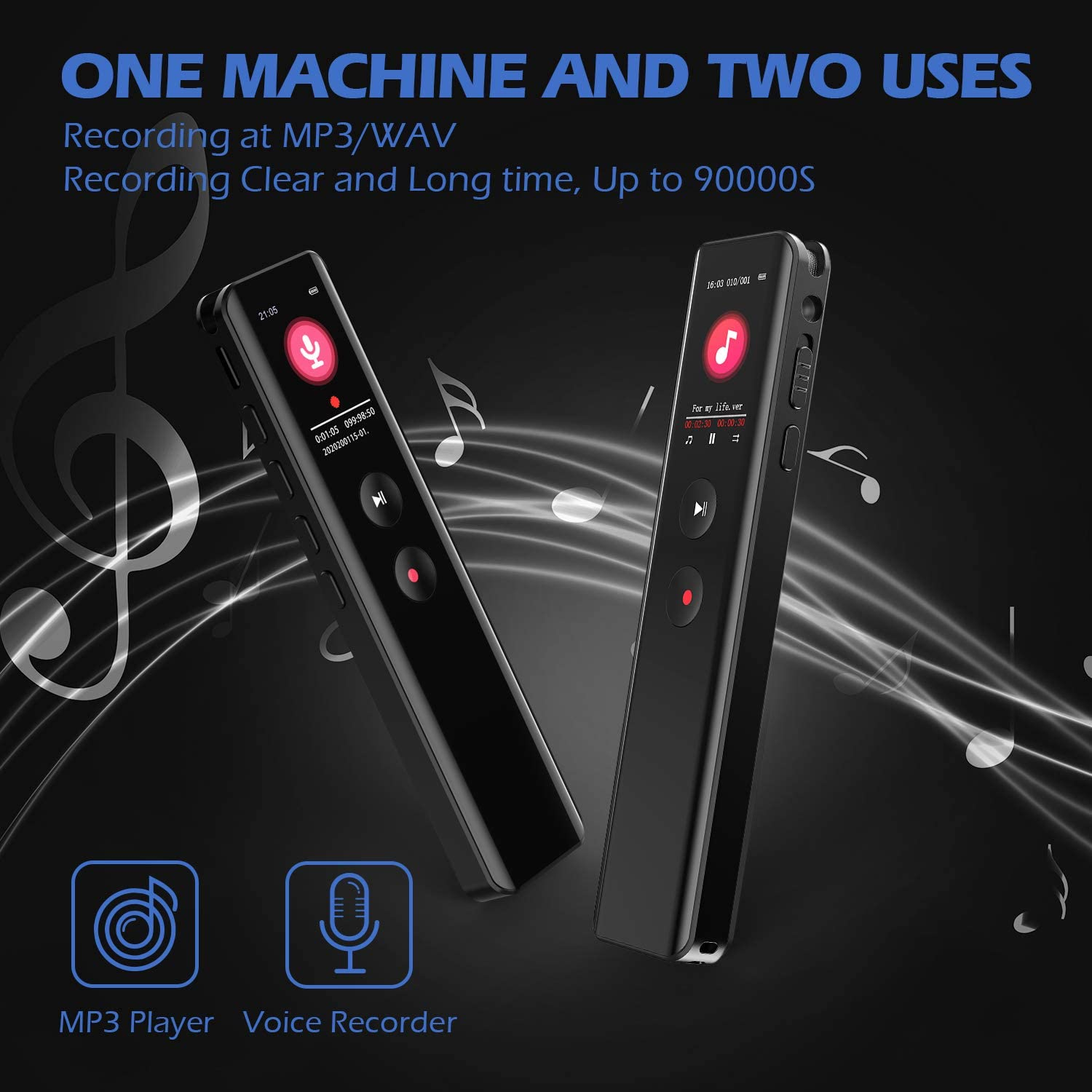 Class Meetings ABSETSHOP 16GB Digital Voice Recorder Intelligent Noise Reduction Dual Sensitive Microphone MP3 Player Recorder for Lectures 1536Kbps HD Audio Dictaphone