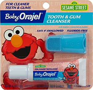 Baby Orajel Elmo Tooth & Gum Cleanser with Finger Brush, Fruity Fun, 0.7oz