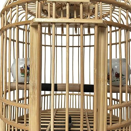 KHUY Puede ser colgado Loro Jaula Pájaro Pájaro Jaula de la cría, Clásico Bambú al Aire Libre al Aire Libre Portador de Aves Jaula de pájaros Interior Percha, Adecuado para Loros/Pinzones/Pájaros: Amazon.es: