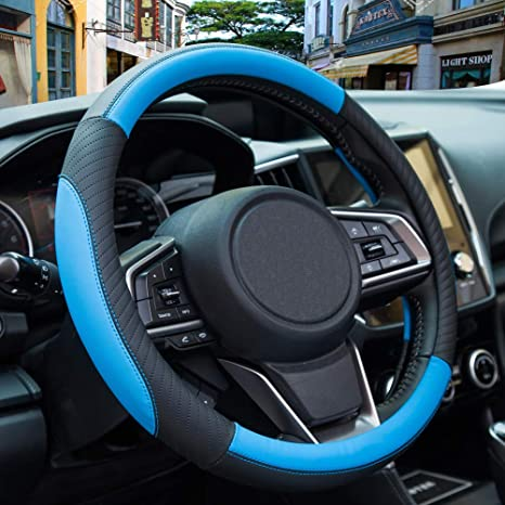 Micro Fiber, Beige Universal 15 inch Odorless Soft and Snug Grip AmeriLuck Steering Wheel Cover for Car Breathable Anti-Slip Sporty