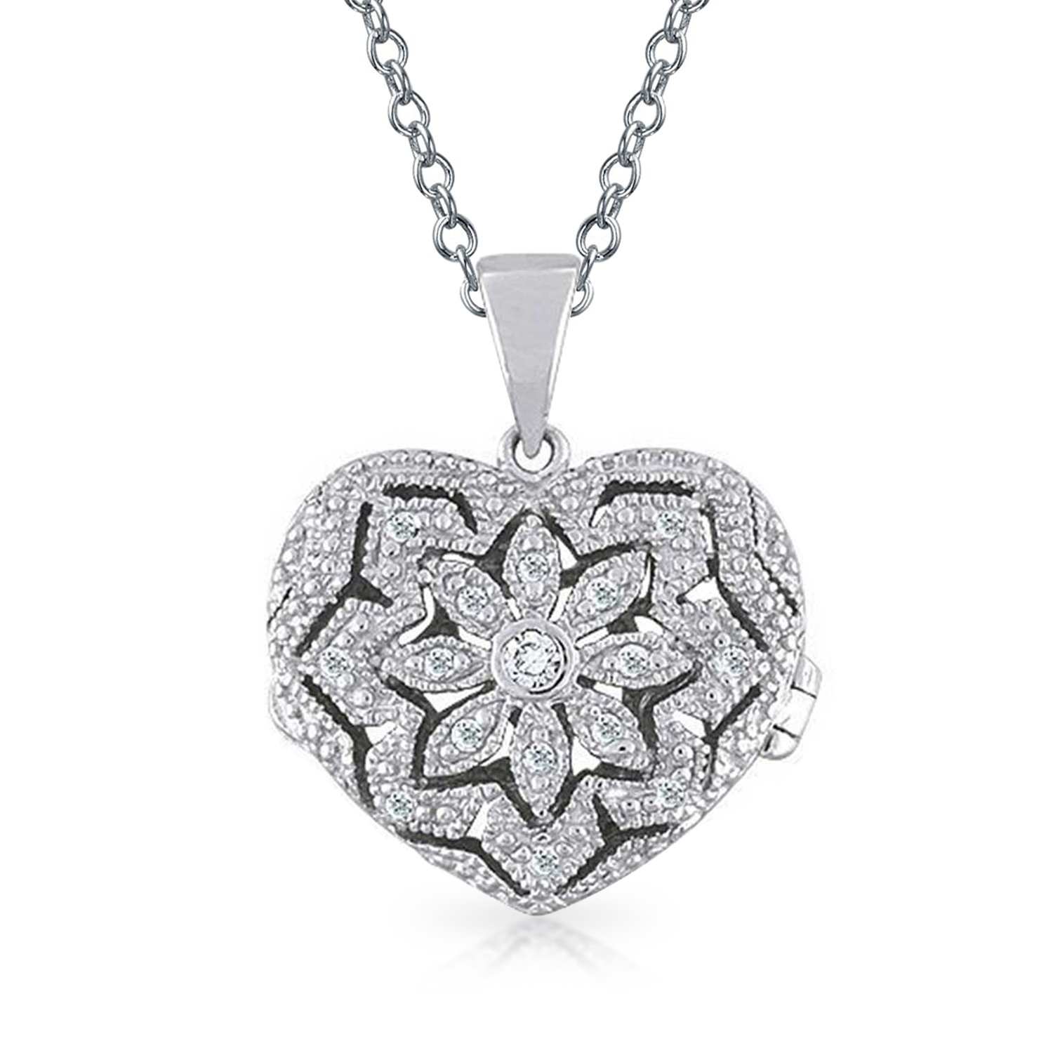 Vintage Style Filigree Pave Heart Locket Pendant Sterling Silver Necklace 18 Inches by Bling Jewelry