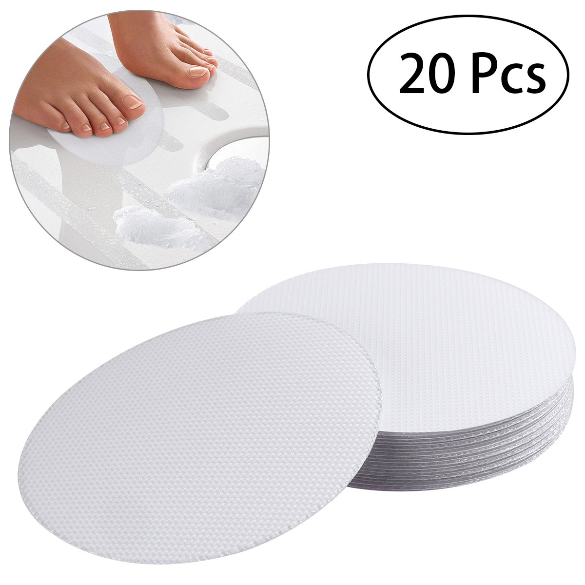 OUNONA 20 PCS Non-Slip Safety Shower Treads 10CM PEVA Anti-slip Discs Tape Non Slip Stickers for Tubs Bath (Clear)