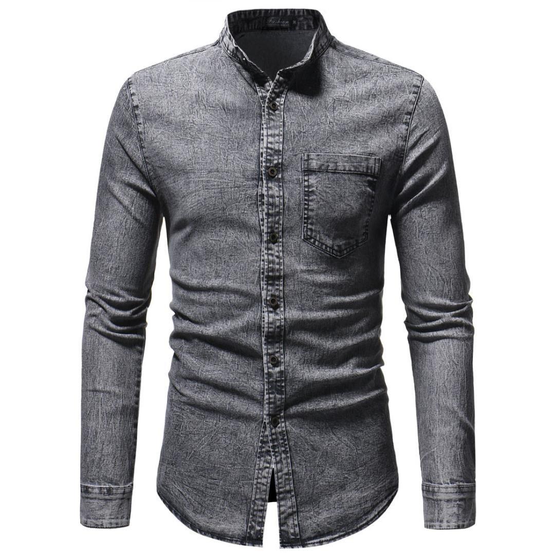 JOFOW Men/'s Autumn Winter Long Sleeve Casual Denim Solid Button Cowboy Top Shirt
