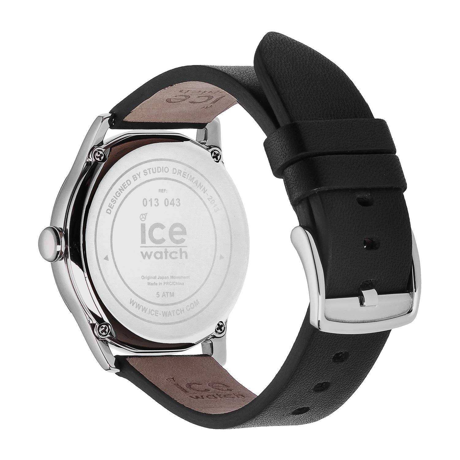With Leather Watch Time Black Ice Men's Strap Wristwatch WDE2IH9Y