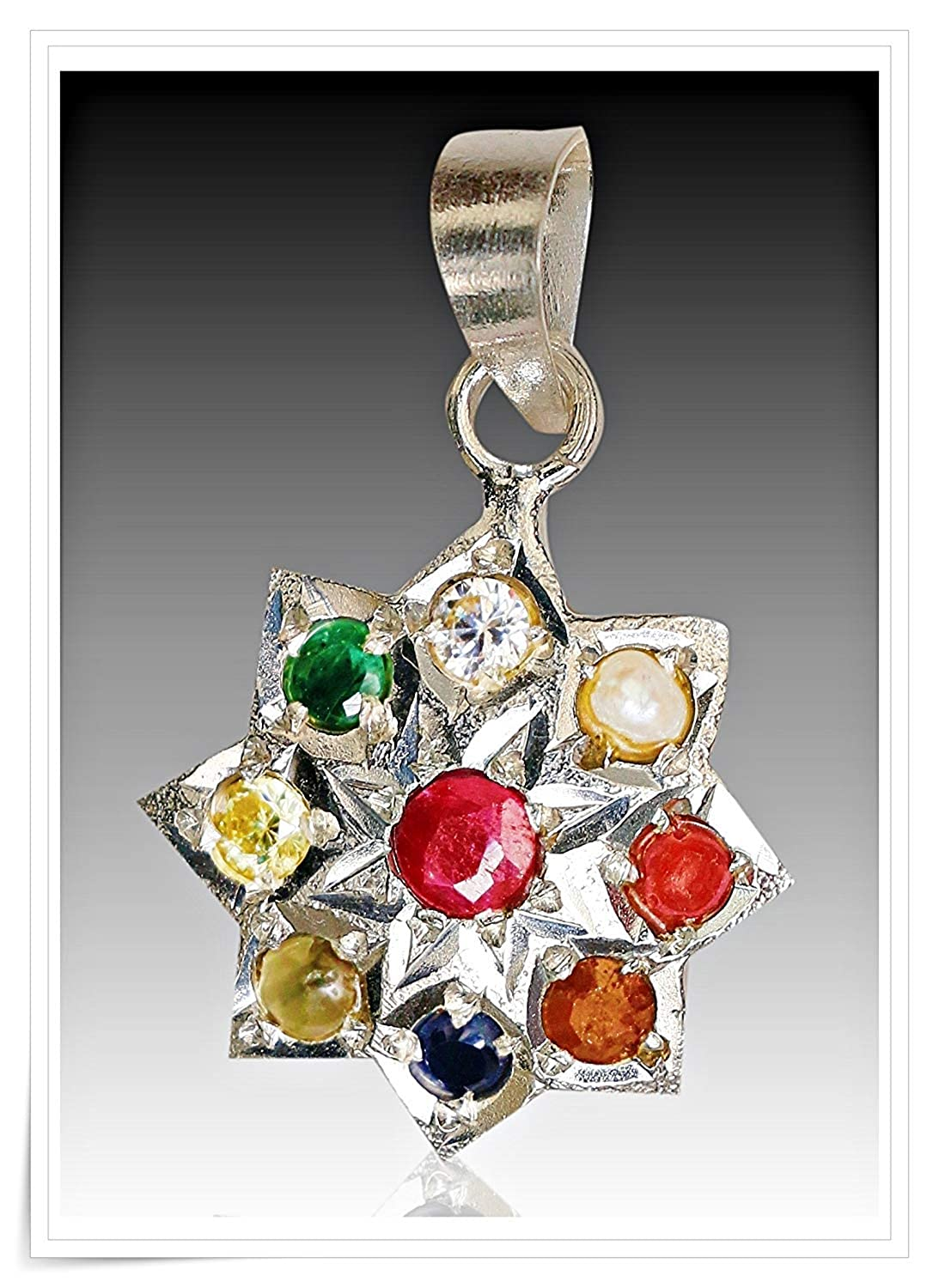For nav Greh Navratna Silver pendant in Designer unique looks with 100/% Original Gemstones and pure silver For Unisex Real Navaratan Pendant 100/% PURE SILVER AND ORIGINAL GEMST navGreh Pendant