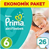 Prima Bebek Bezi Aktif Bebek 6 Beden Ekstra Large Ekonomik Paket 26 Adet
