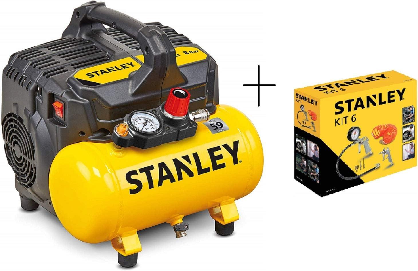 59 dB Stanley DST 100//8//6 + Kit 6 Stanley Compresor silencioso