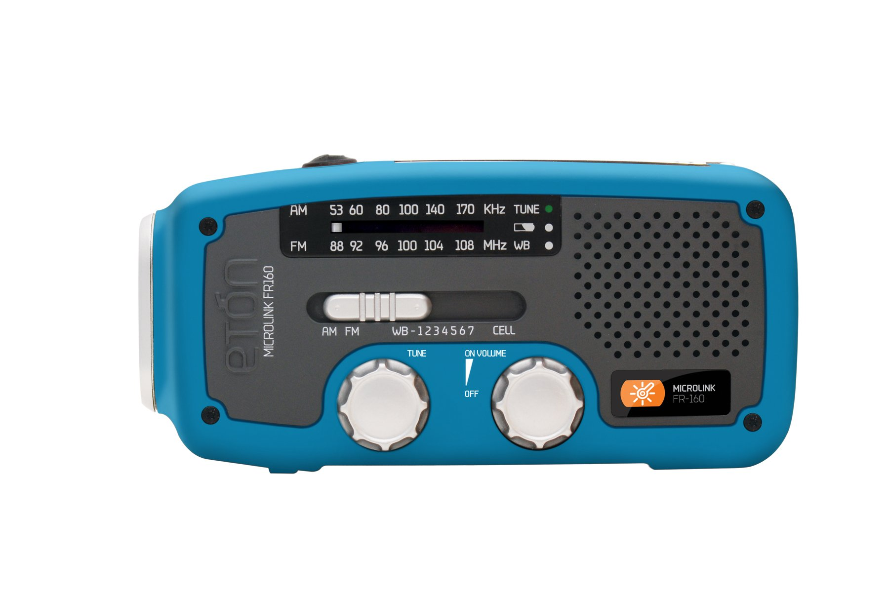 Etón NFR160WXBL Microlink Self-Powered AM/FM/NOAA Weather Radio with Flashlight, Solar Power and Cell Phone Charger (Blue)