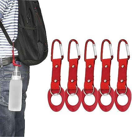 Hiking Water Bottle Holder Hook Belt Clip Aluminum Silicone Carabiner Key Ring/_L