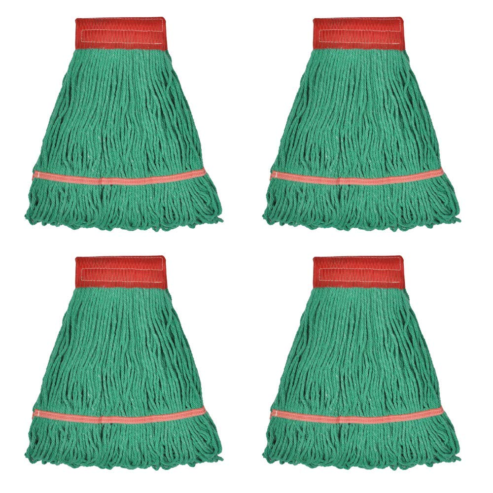 Loop-End Mop Heads Polyester Cotton 18-Inch Large, Green 4-Pack